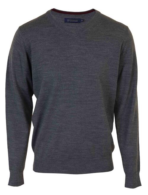 Grey Wool Blend V Neck Jumper