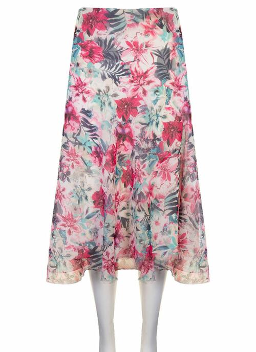 Ivory Botanical Midi Skirt
