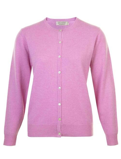 Pink Cashmere Crew Neck Cardigan