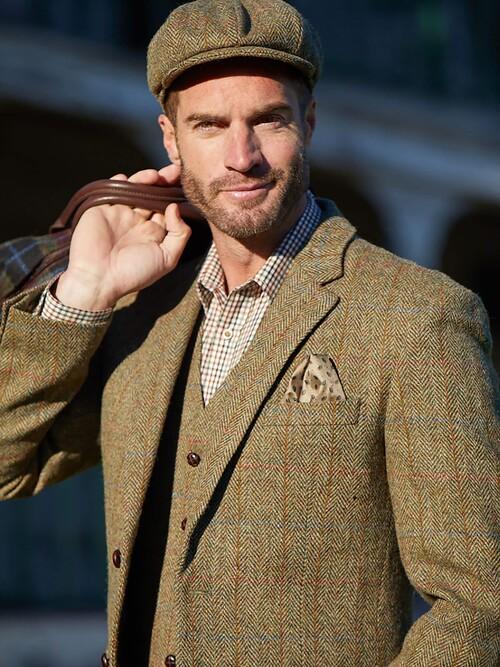 Green Harris Tweed Uist Jacket Long