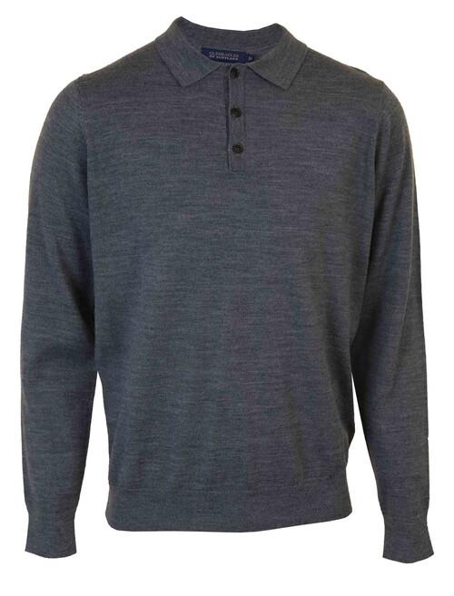 Grey Wool Blend Collar Jumper