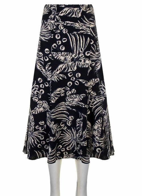 Navy Foliage Print Skirt