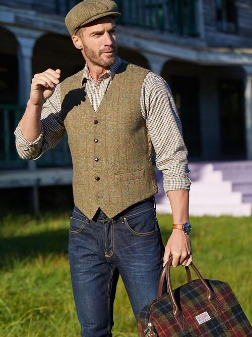 Green Harris Tweed Uist Waistcoat