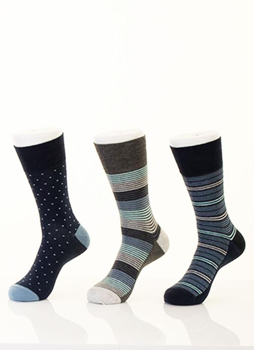 Navy 3 Pack Stripe Socks