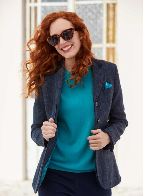 Blue Harris Tweed Hacking Jacket