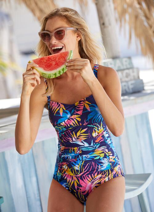 Navy Palm Shape Enhancing Swimsuit