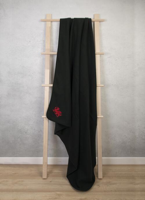 Dark Green Fleece Rug With Embroidered Dragon Motif