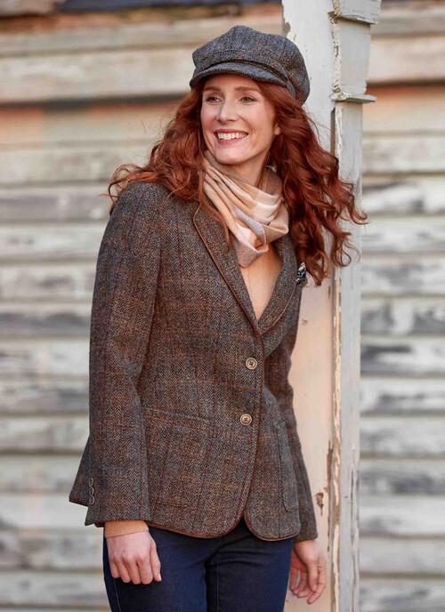Brown Ladies Harris Tweed Jacket Short