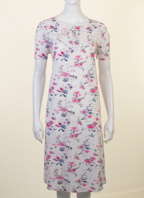 Ivory Short Sleeve Round Neck Floral Print Nightdress