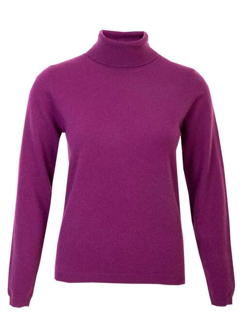 Purple Cashmere Polo Neck Jumper