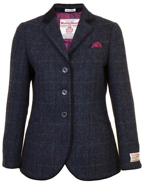 Blue Harris Tweed Skye Hacking Jacket Long
