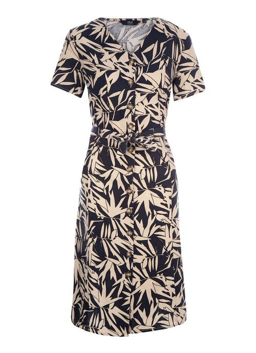 Navy Bamboo Print Dress