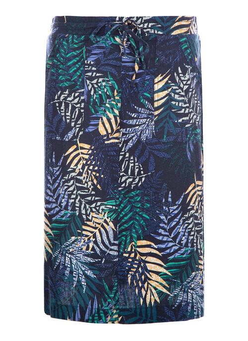 Navy Palm Print Skirt