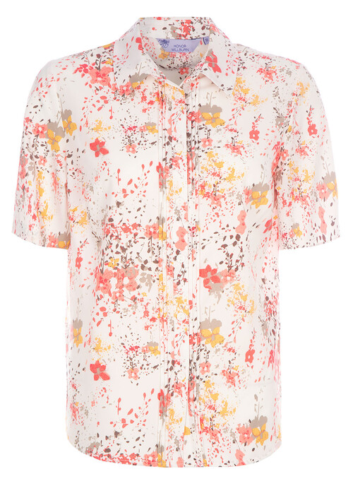 Mid Coral Print Blouse