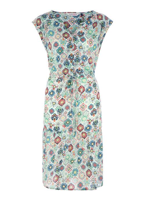 Green Floral Tile Midi Dress