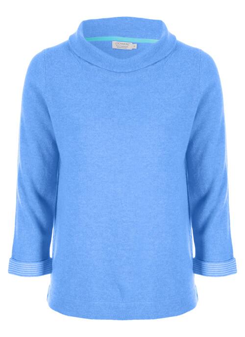 Blue Cashmere Bardot Neck Jumper