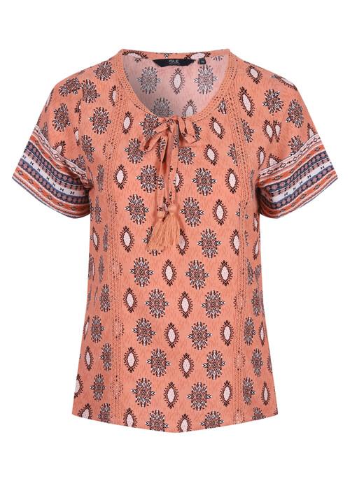 Orange Print Crochet Top