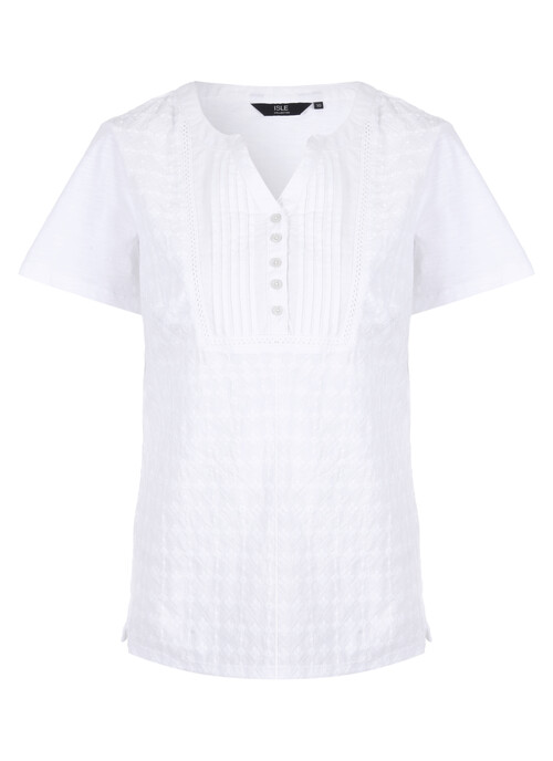 White Broderie Pintuck Top