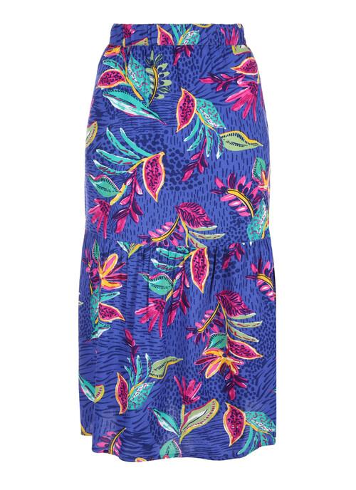 Cobalt Tiered Midi Skirt