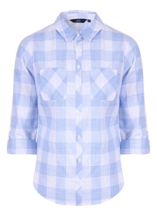 Blue Cotton Check Blouse