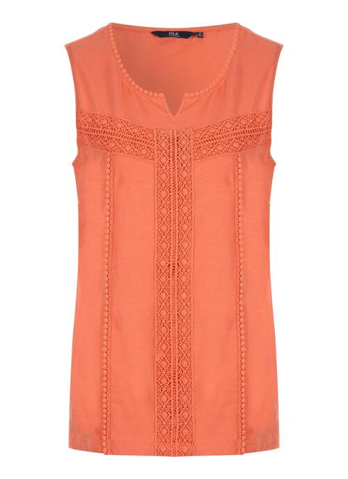 Orange Crochet Trim Top