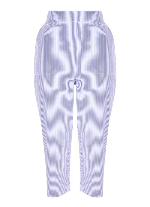 "Denim Stripe Crop Trouser Inside Leg 21"""
