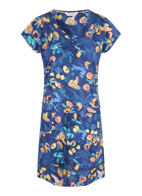 Navy Fruit Midi Dress