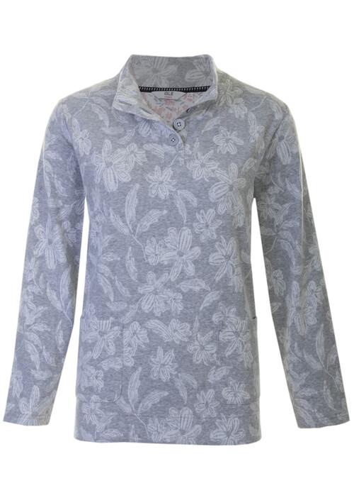 Grey Floral Brushed Top