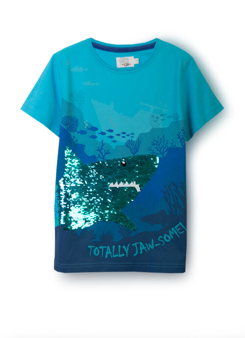 Bright Blue T-SHIRT REV SEQUINS 5-8 Years