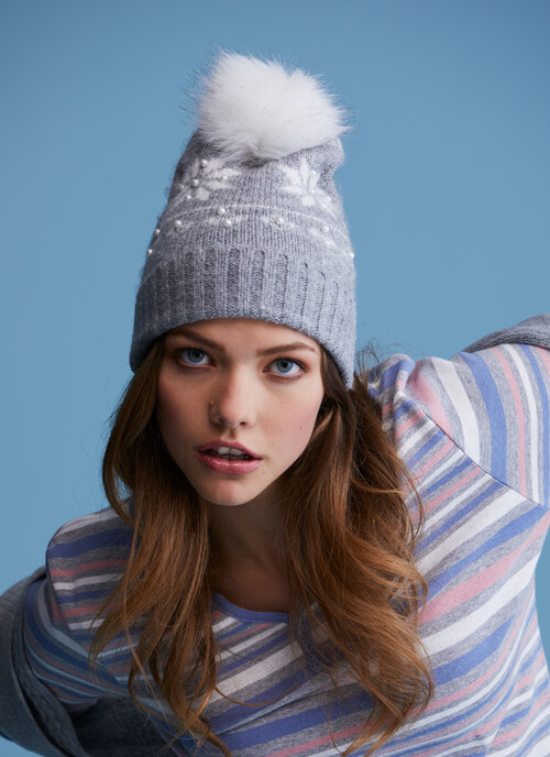 Grey Ladies Fairisle Hat