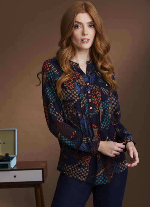 Navy Patchwork Blouse