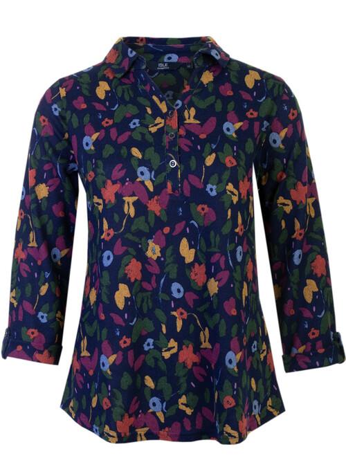 Navy Trailing Floral Blouse