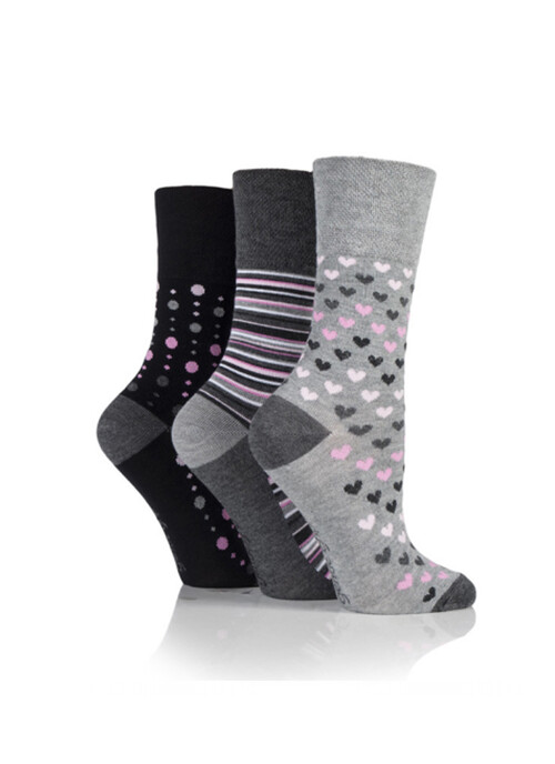 Ladies Grey 3 Pack Socks