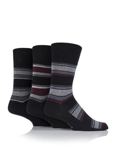Mens Black 3 Pack Socks Stripes