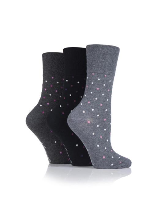 Ladies Black 3 Pack Socks Dots