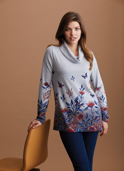 Grey Floral Print Top