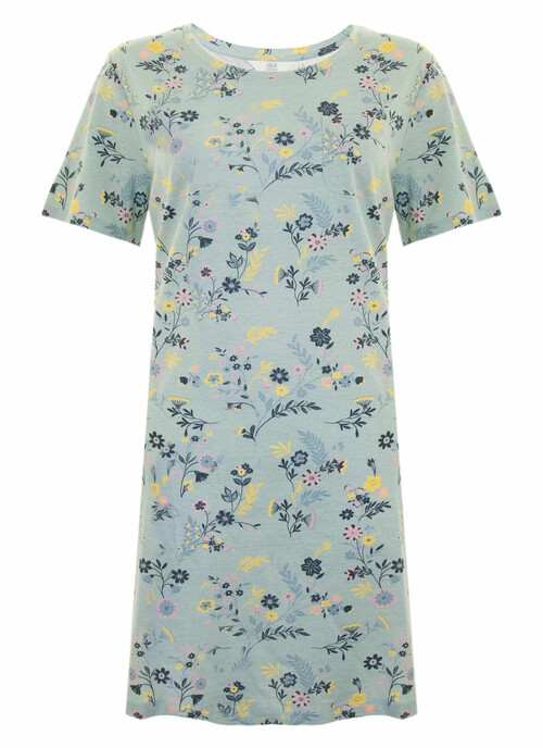 Aqua Floral Cotton Nightie