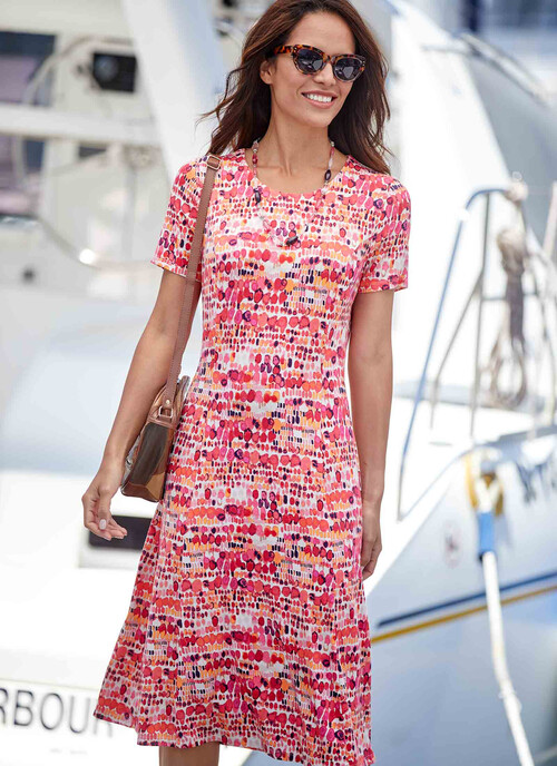 Coral Print Dress with Necklace