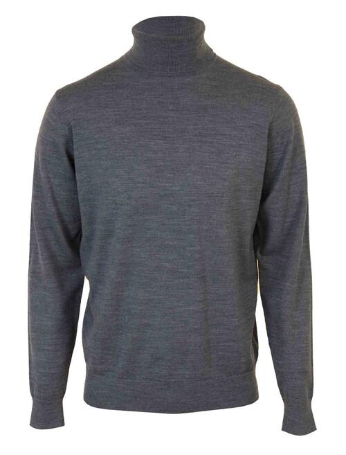 Grey Wool Blend Polo Neck Jumper