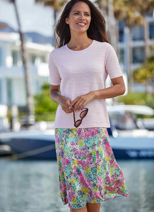 "Pink Print Skirt 27"""
