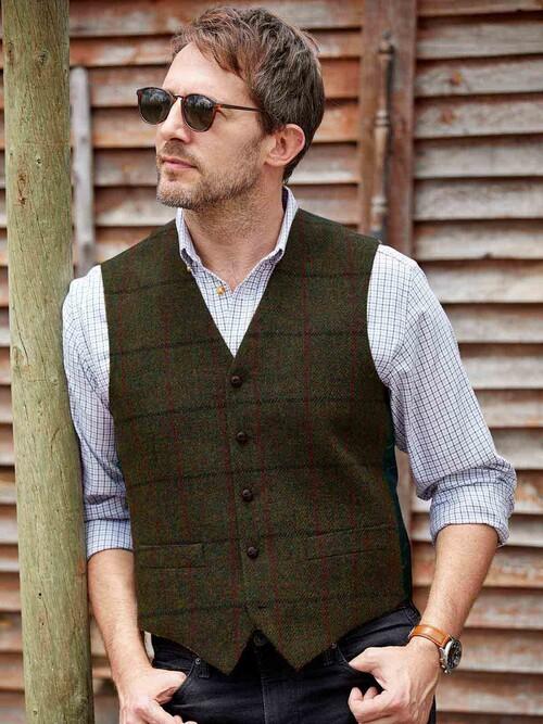 Green Harris Tweed Gigha Waistcoat